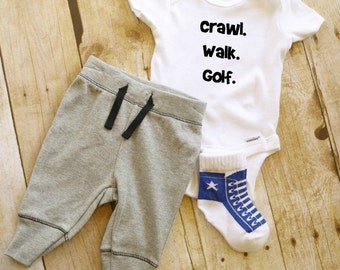 Crawl. Walk. Golf. Baby Onesie // Golf Onesie  // Baby Onesie // Funny Baby shirt // Funny Baby Onesie