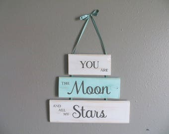Wall Sign Home Decor Word Sign Baby Decor Hanging Sign Moon Stars