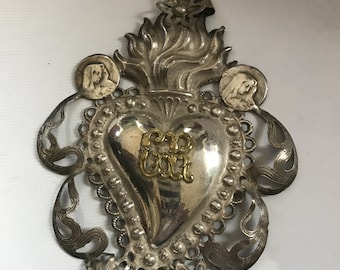 Vintage antique Ex Voto Sacred Heart GR with Virgin Mary's