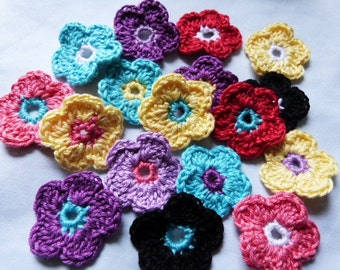 Crochet flowers, colourful, free 10 piece, color selection, application, crafting