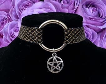 Black glitter netted pentagram choker