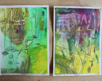 """Set of Two 5x7"""" Original Abstract Acrylic and Pencil on Smooth Bristol Paper"""