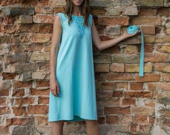 Blue dress - sleeveless dress - hand painted dress - midi length dress - summer dress - dress with belt - shift dress