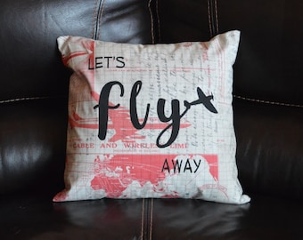 Let's Fly Away Decorative Pillow Airplane Calligraphy Decoration Home Decor Gift Throw Pillow