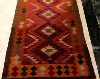 Article # 5058 Marvellous Maimana Hand Woven Kilim Ruuner Rug Double Face Design 282 x 84 cm