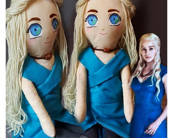 Khaleesi / Daenerys inspired handmade art doll. Game of thrones fabric figure.