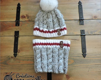 Winter hat whit real fur artic fox, socls style