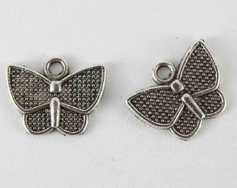 10 pcs Butterfly charm antique silver charm 10x13mm wholesale butterfly small pendant silver butterfly moth charm insect charm monarch charm