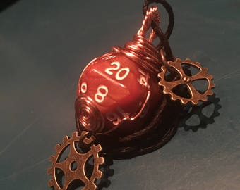 Steampunk D20 Necklace