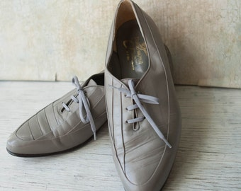 Vintage Giorgio Brutini Gray Genuine Leather Oxfords, Mens Size 10 1/2 D Pointed Toe Oxfords, Made in Brazil,