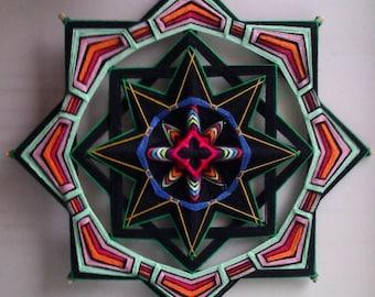 Mexica Dream - decorative woven mandala, ojo de dios, wall hanging, decor, diameter 36 cm (14 inches)