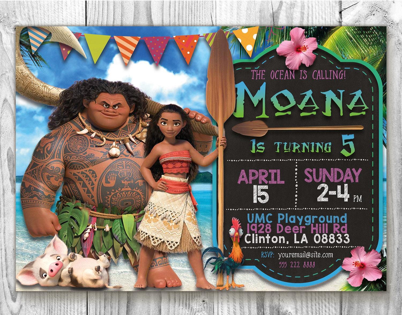 Moana Invite 5x7 Birthday Invitation Disney Party Card Maui