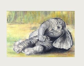 Nursery wall art, portrait drawing, elephant wall art, nursery art, original drawing, home decor, nursery art, nursery decor, baby elephant