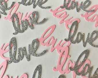Love Confetti, Confetti, Glitter Confetti, Bridal Shower Confetti, Wedding Confetti, Pink Confetti, Silver Glitter, Party Confetti, Love