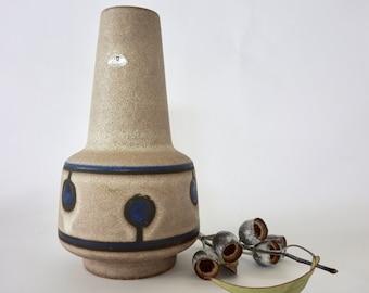 Stunning vintage West German vase in stone with indigo accents - Ubelacker Keramik
