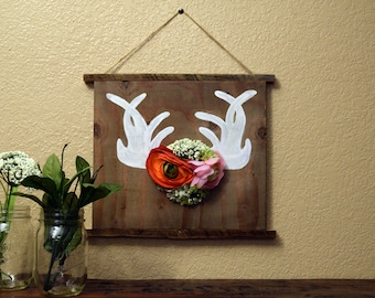 Wooden Antlers sign- Reclaimed Wood- Recycled Wood- Home Decor-