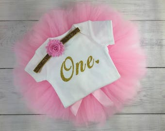 1st Birthday Outfit Girl One Tutu Outfit Cake Smash Shirt Gold Glitter Onesie Bodysuit Headband Photo Prop