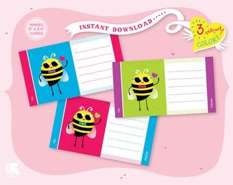 Printable Love Bee Cards - Horizontal
