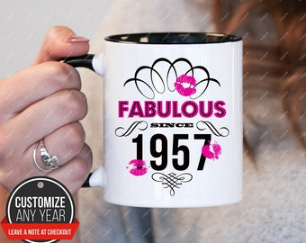 fabulous since 1957, 60th birthday mug, 60th birthday gifts for women, 1957 birthday gift, 60th birthday mug for mens, 60th
