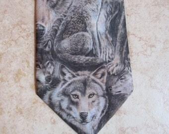 Vintage Wolf Necktie - Wolf Tie - D'em Crazy Tie - 1995 - DC Enterprises
