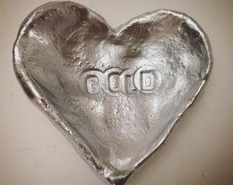Jewelry heart-shaped / jewelry dish silver plate / heart