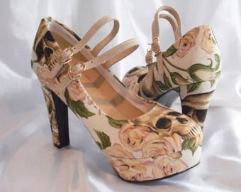 Custom Shoes - Women's Shoes - Skull Rose Fabric - Alexander Henry inspired shoes - Alternative Wedding Shoes - Mary Jane Style shoes