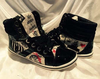 Custom shoes - women's shoes - Alice In Wonderland Inspired High Tops shoes - Down the Rabbit Hole Design - Comicon - Geek Chic shoes- shoes
