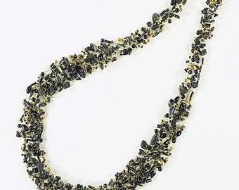 Art wire knit necklace, mixed beads, hemalike