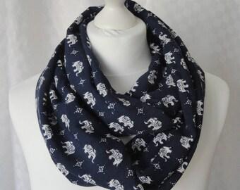 Elephant print infinity scarf, Circle scarf, Elephant print scarf, Scarf for her, Lightweight scarf, Fashion scarf