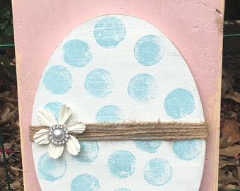 Blue/White polka dot Easter Egg