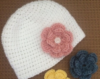 Baby Beanie Hat with interchangeable flowers
