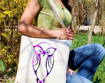 Purple owl tote bag -  Owl shoulder bag - Fashion canvas bag - Colorful printed market bag - Gift Idea