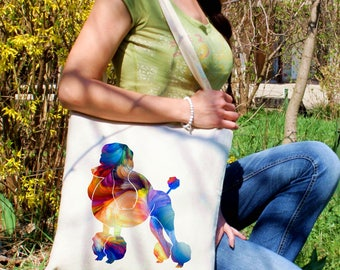 Poodle tote bag -  Dog shoulder bag - Fashion canvas bag - Colorful printed market bag - Gift Idea