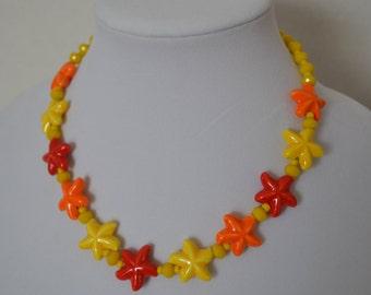 Yellow Orange Red Starfish Necklace