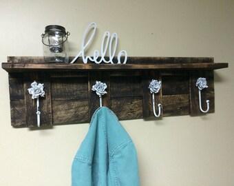 Rustic Coat Rack with Shelf - Reclaimed Wood Coat Rack - Everyday Wooden Coat Rack
