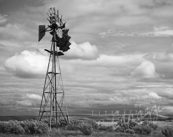 Yesteryear / black and white photograph, fine art, wall art print, b&w photography, wall decor, rustic photograph, windmill, farmhouse decor
