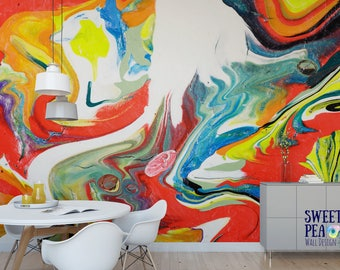 Miami Paint Swirl Wall Mural / Abstract Removable Wallpaper / Artistic Self  Adhesive Wall Mural M4184 Part 54