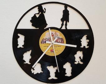 Vinyl Clock, Snow White and the seven dwarfs, Christmas gift, Wall clock, vinyl record clock