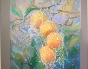 Oranges in the Rain print
