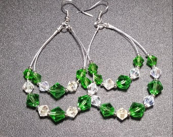 Green and Clear Crystal Hoop Earrings in Silver