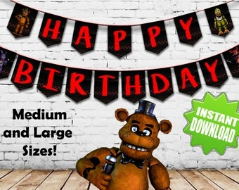 Five Nights at Freddy's  FNAF Happy Birthday Banner Instant download Printable