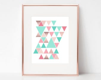 11x14 Digital Download Prints, Triangles, Wall Art, Girls Bedroom, Playroom, Arbor Grace Collections