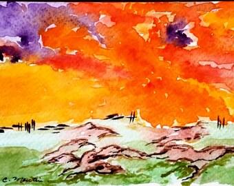 Sunset Fields.  Watercolour postcard.