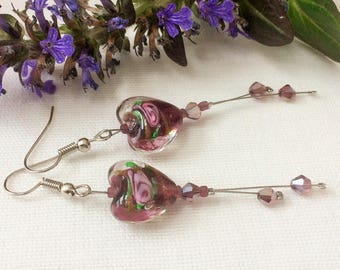 purple earrings,glass heart earrings,purple and pink,extra long earrings,evening wear,lovely glass beads,very long earrings,party earrings,