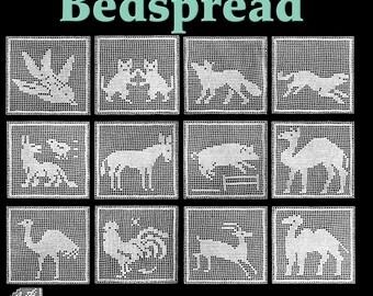 Animal Blocks Bedspread Filet Crochet Pattern
