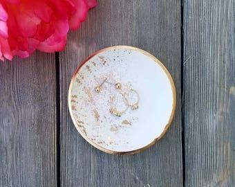 Catchall, Gold Splatter Ring Dish, White Ring Dish, Clay Ring Dish, Jewelry Holder, Gold Rim Ring Dish, Vanity Tray, Birthday Gift for Her