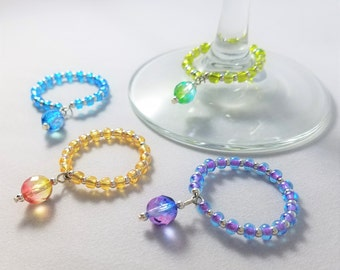 Variegated Bead Wine Glass Charms Set of 4