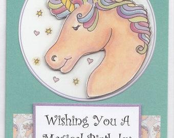 Magical Rainbow Mane Unicorn Birthday Card, unicorn birthday card, girls birthday card, magical birthday card, rainbow unicorn card