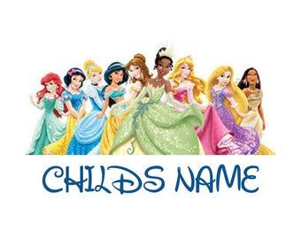 Disney Princess Tee shirt with child's name