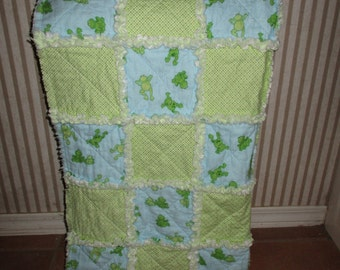 Frogs baby rag quilt-3 piece set
